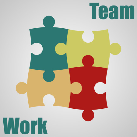 coalition: Four  pieces of the puzzle. Teamwork. Vector illustration
