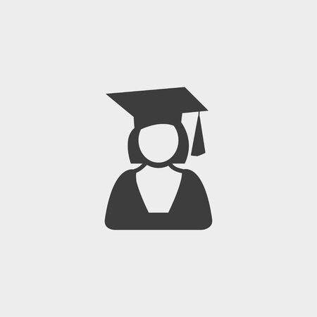 scholar: Graduation student icon girl in a flat design in black color. Illustration