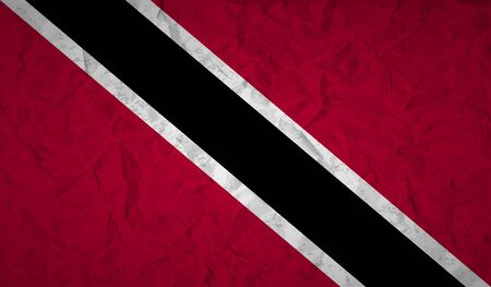 port of spain: Flag of Trinidad with the effect of crumpled paper and grunge