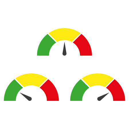 速度計または評価メーターは、インフォ グラフィックのゲージ要素を署名します。ベクトル図