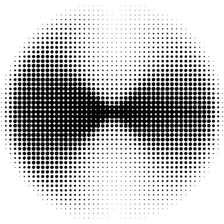 duotone: Pop art round elements. Halftone black dots on white background