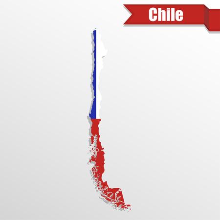 bandera chilena: Chile mapa con bandera dentro y cinta Vectores