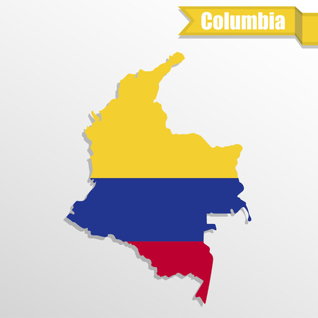 columbia: Columbia map with flag inside and ribbon