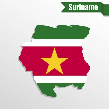 suriname: Suriname map with flag inside and ribbon Illustration