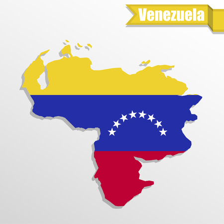 Venezuela map with flag inside and ribbon
