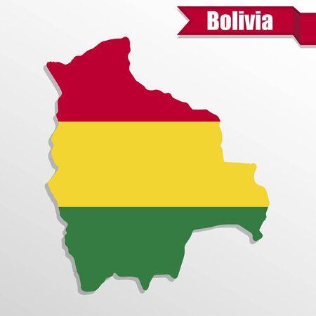 mapa de bolivia: Bolivia mapa con la bandera y la cinta en el interior