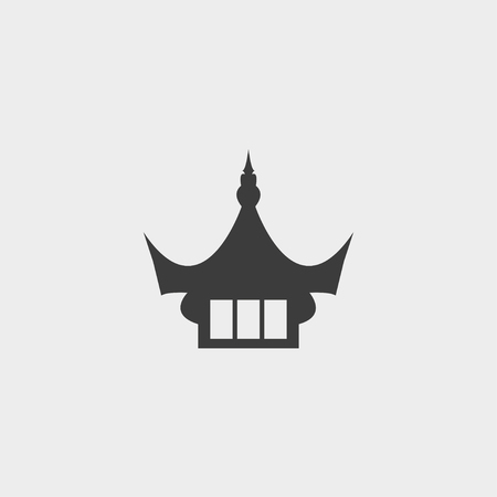 decorate mobile telephone: Chinese temple icon in a flat design in black color. Vector illustration