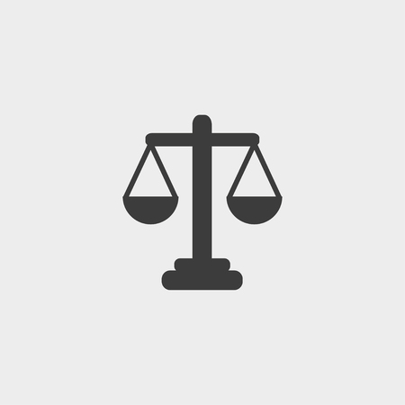 acquittal: Libra icon in a flat design in black color. Vector illustration