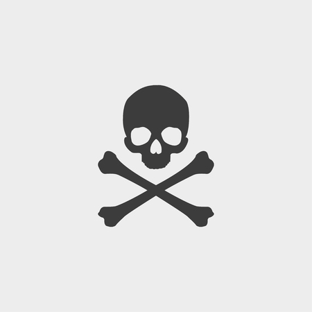 Skull and crossbones icon in a flat design in black color.