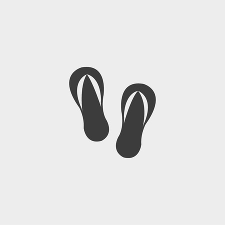 beach slippers: Beach slippers icon in a flat design in black color. Vector illustration