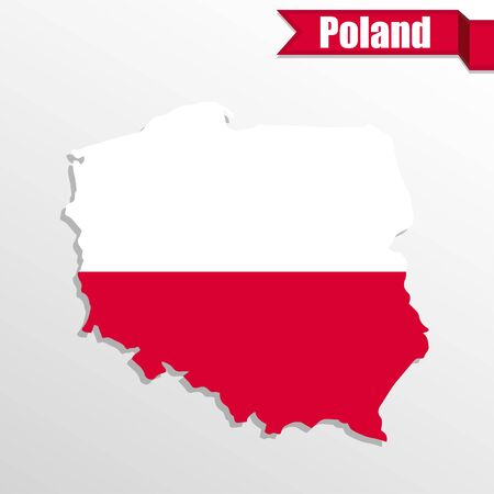 mercator: Poland map with flag inside and ribbon