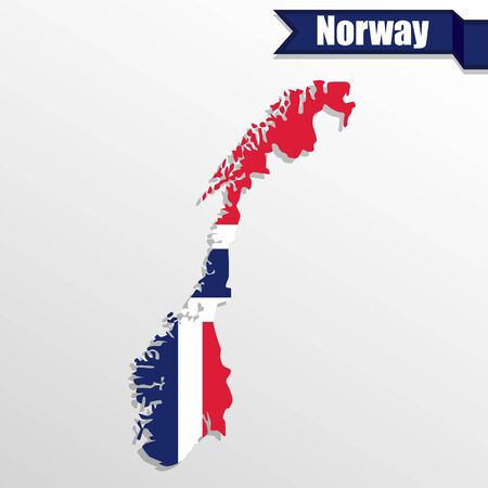 euro area: Norway map with flag inside and ribbon