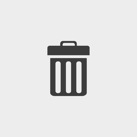 cesto basura: icono de la papelera en un diseño plano en color negro. ilustración vectorial