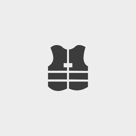 safety vest: Safety vest icon in a flat design in black color. Illustration