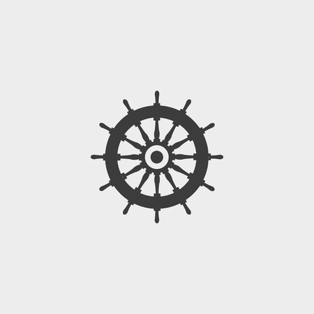 piloting: Rudder icon in a flat design in black color.