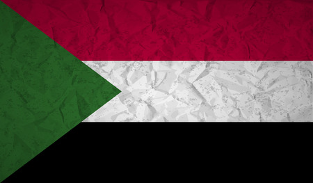 bad condition: Sudan flag with the effect of crumpled paper and grunge