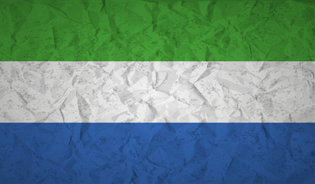 lacerated: Sierra Leone flag with the effect of crumpled paper and grunge