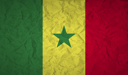 bad condition: Senegal flag with the effect of crumpled paper and grunge