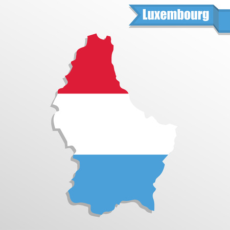 cantons: Luxembourg map with flag inside and ribbon Illustration