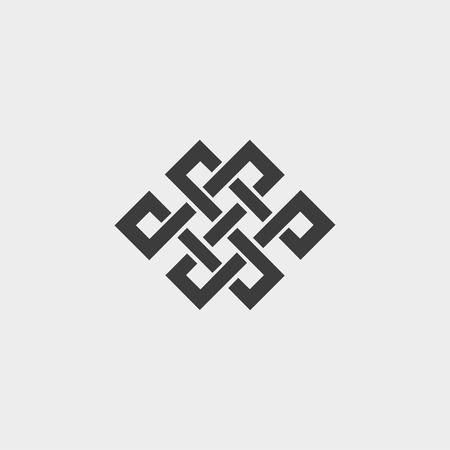 Icon endloser Knoten in flachem Design in schwarzer Farbe. Vektorgrafik