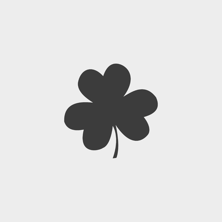 clover icon: Clover  icon in a flat design in black color.