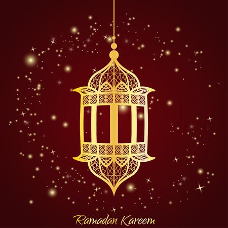 传统的斋月灯笼。斋月卡里姆贺卡与发光的星星