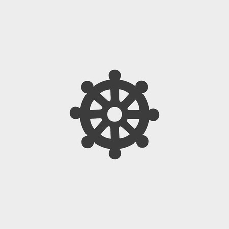 wheel of dharma: Icon  wheel of Dharma in a flat design in black color.