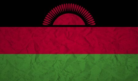 malawi flag: Malawi flag with the effect of crumpled paper and grunge Illustration