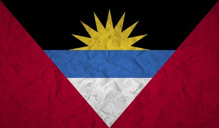 antigua: Flag of Antigua and Barbuda with the effect crumpled paper and grunge