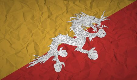 buddist: Bhutan flag with the effect of crumpled paper