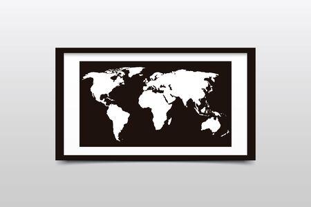 plexiglas: World map on a black frame. Vector illustration