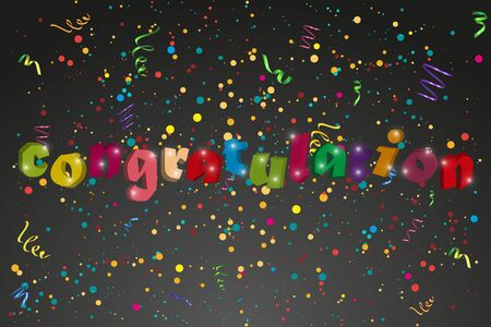 symbol sign: Congratulation banner with confetti an ribbons. Vector illustration Illustration