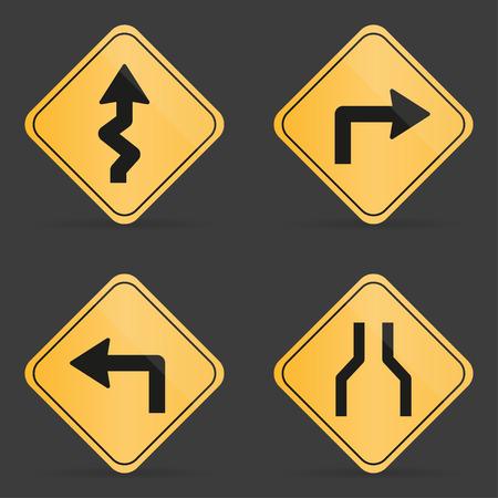 turn left sign: Set of orange road sign on a black background Illustration