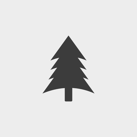 reforestation: Spruce, christmas tree icon in a flat design in black color. Vector illustration