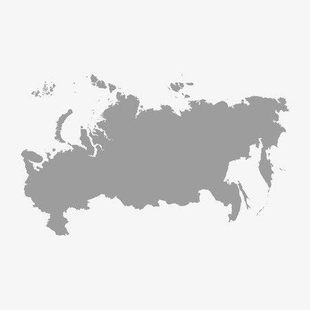 Russia Mappa in grigio su uno sfondo bianco Vettoriali
