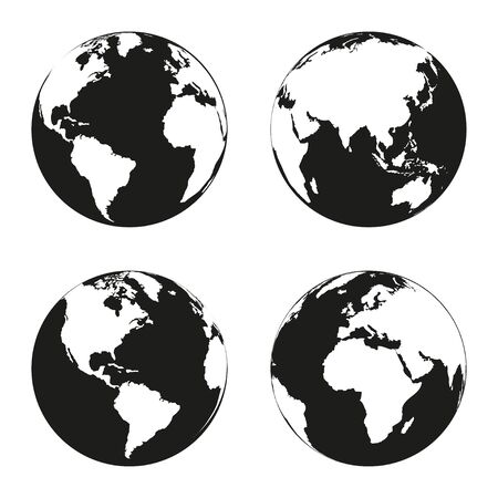 geodesy: Earth globe revolved in four different stages. Vector illustration Illustration