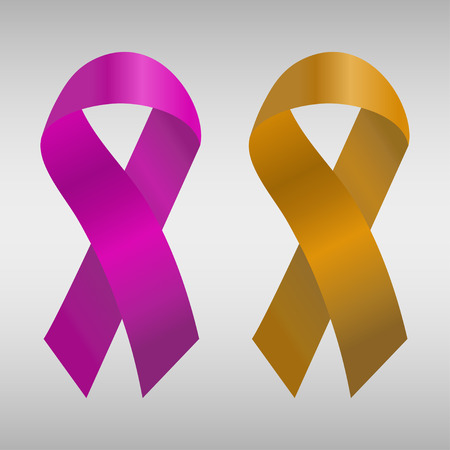 pancreatic cancer: Cancer ribbon in the purple and orange gradient. Vector illustration Illustration