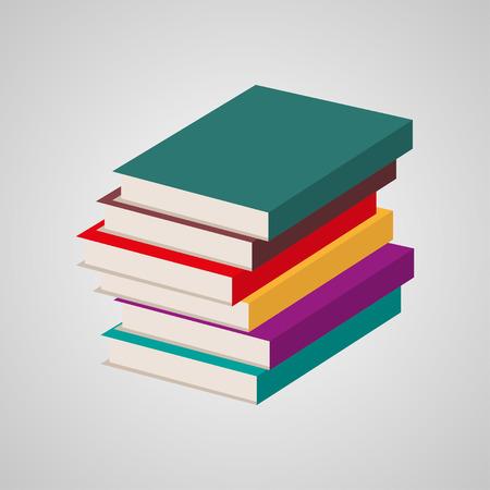 multi colored: Stack of multi colored books. Vector illustration