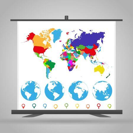 Stand d'exposition avec carte du monde politique, globe et marqueurs