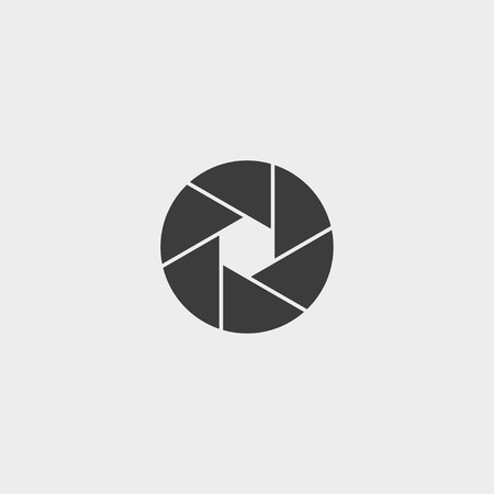 objective: Camera objective icon in a flat design in black color. Illustration