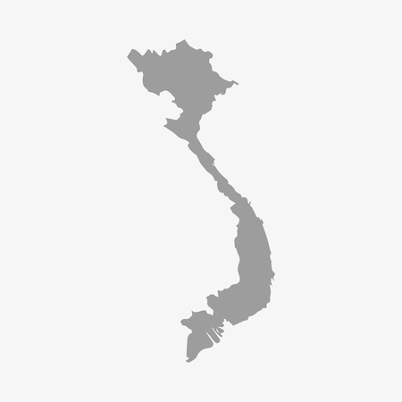 indochina peninsula: Vietnam map in gray on a white background