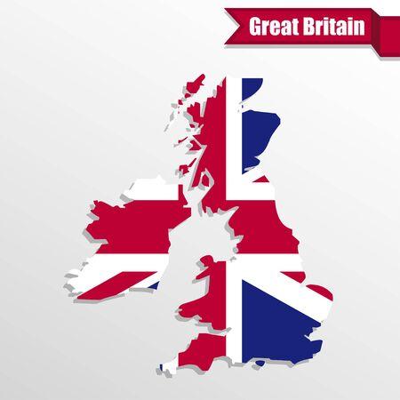 uk map: UK map with UK flag inside and ribbon