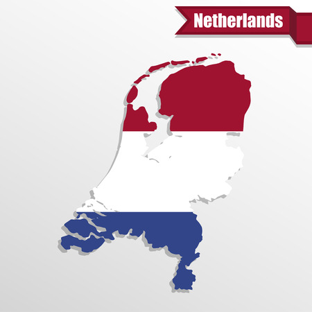 netherlands map: Netherlands map with flag inside and ribbon