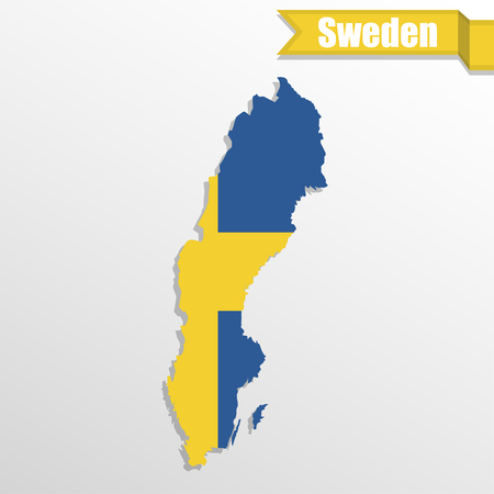 sweden map: Sweden map with flag inside and ribbon