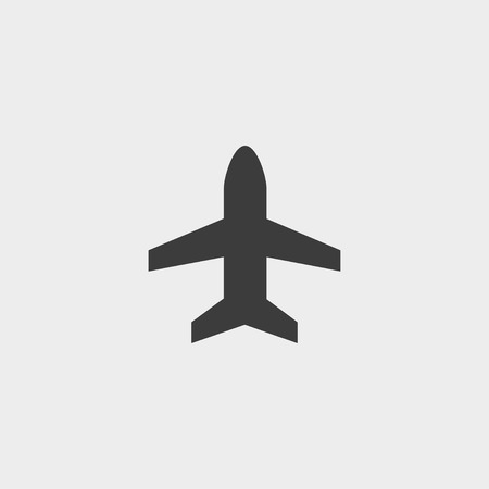air liner: Plane icon in a flat design in black color.