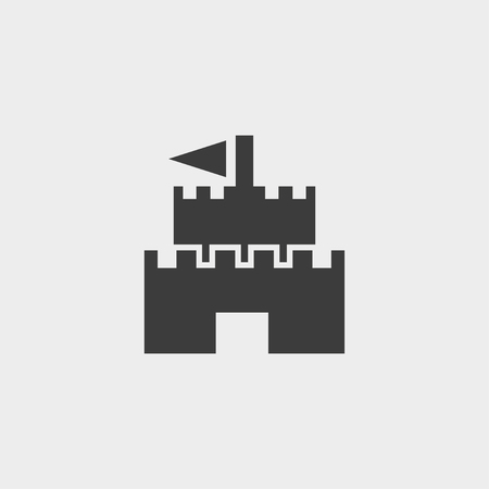 fortification: Castle Icon in a flat design in black color.