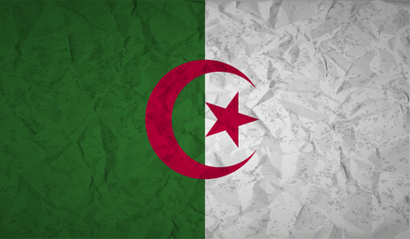 alger: Algeria flag with the effect of crumpled paper and grunge Illustration