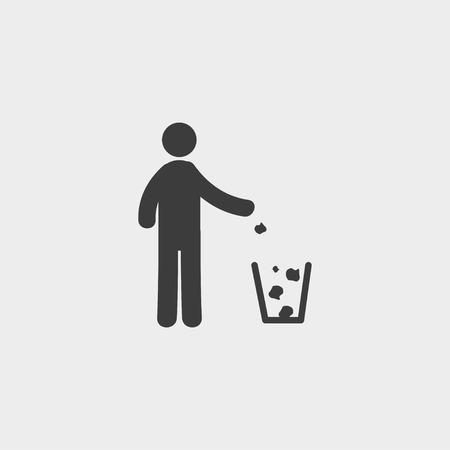 nonsense: Through rubbish icon in a flat design in black color.