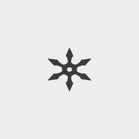 concealed: ninja star icon in a flat design in black color.