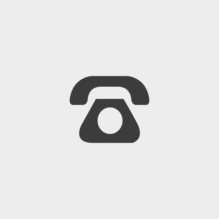 clientele: Phone  icon in a flat design in black color.